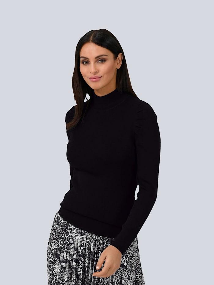 Alba Moda White Pullover mit Falten-Detail an der Schulter, Schwarz
