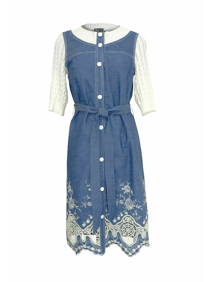 Wisell Jeanskleid mit Knöpfen und gestrickten Ärmeln, blau