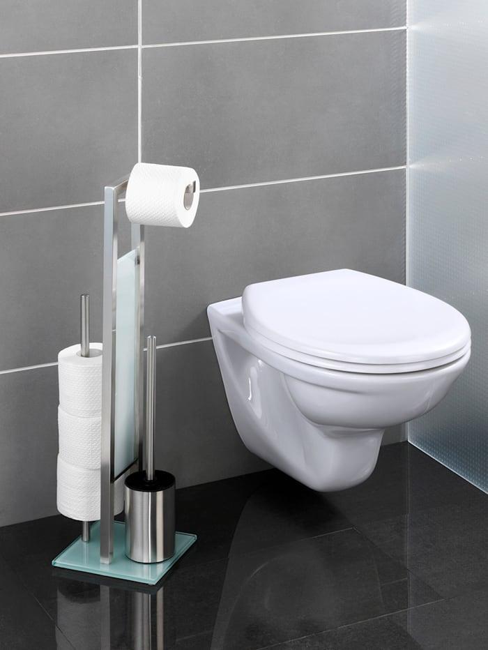 Wenko Valet WC 3 en 1, acier inox, blanc, Coloris argenté/blanc