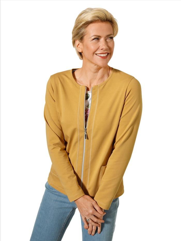 MONA Shirtjacke mit aufgesetzten Taschen, Ockergelb