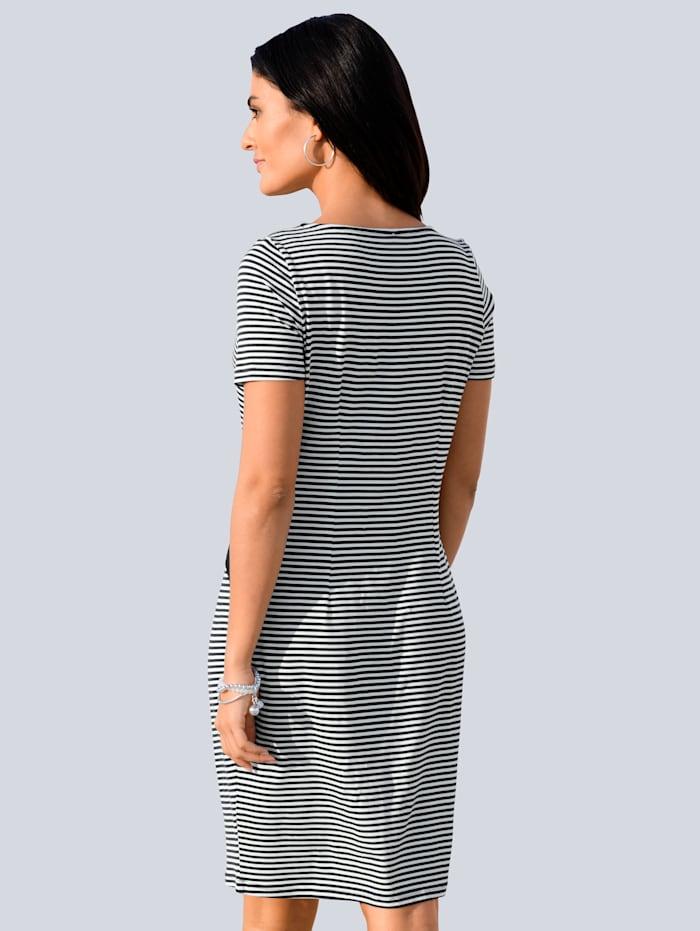 Jerseykleid mit seitlichem Einsatz und Bindebändchen
