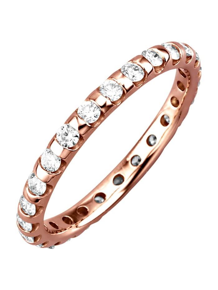 Diemer Diamant Ruusukultainen muistosormus timanteilla, Roosa