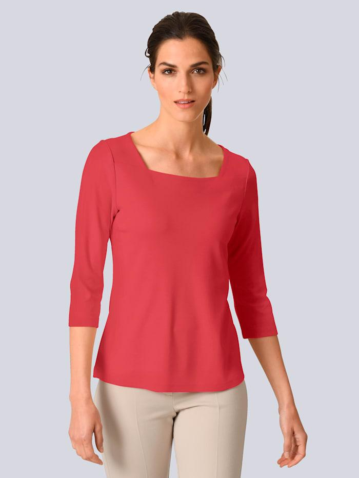 Alba Moda Shirt mit modischem Karree-Ausschnitt, Koralle