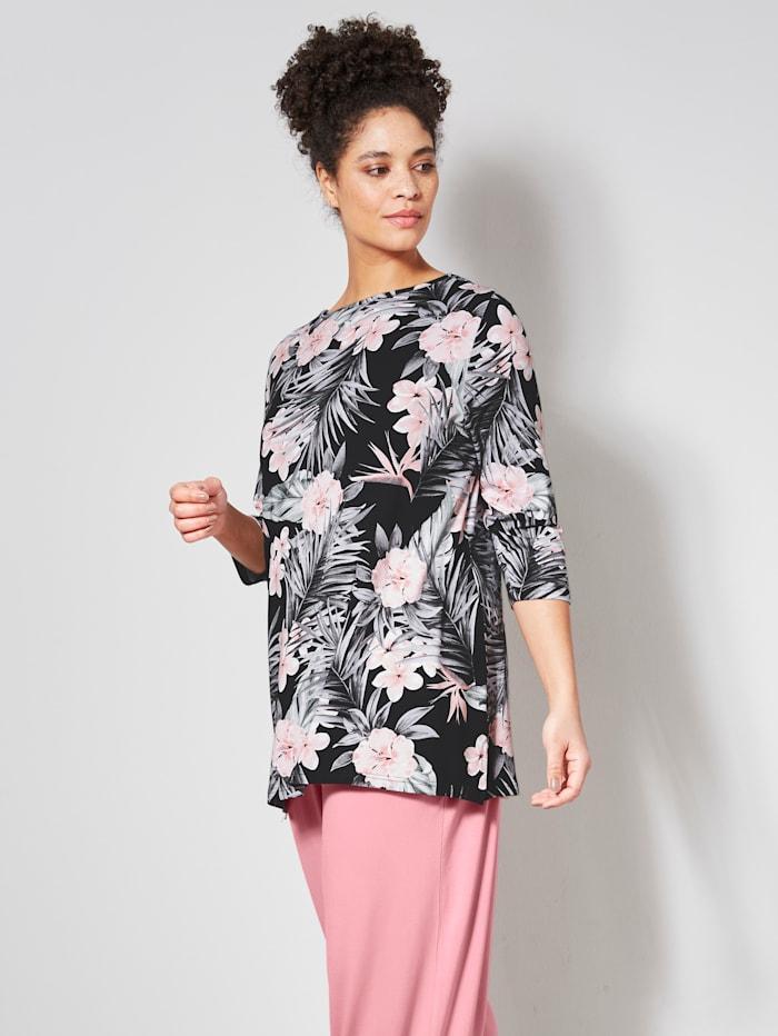 Janet & Joyce Shirt mit dekorativem Ausschnitt, Schwarz/Rosenholz