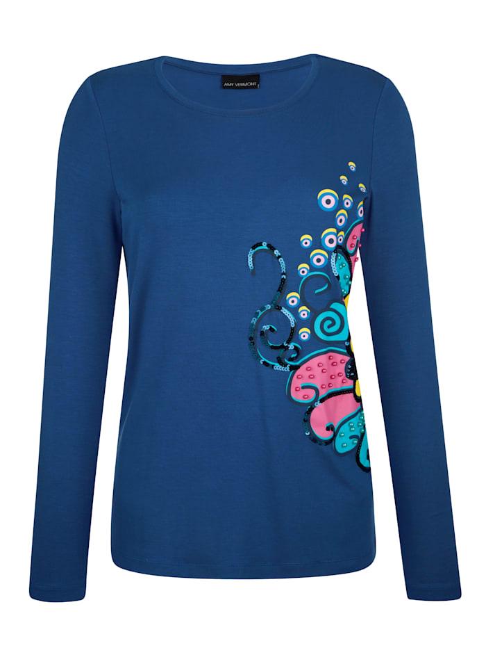 AMY VERMONT Shirt mit grafischem Druck, Blau/Pink/Gelb