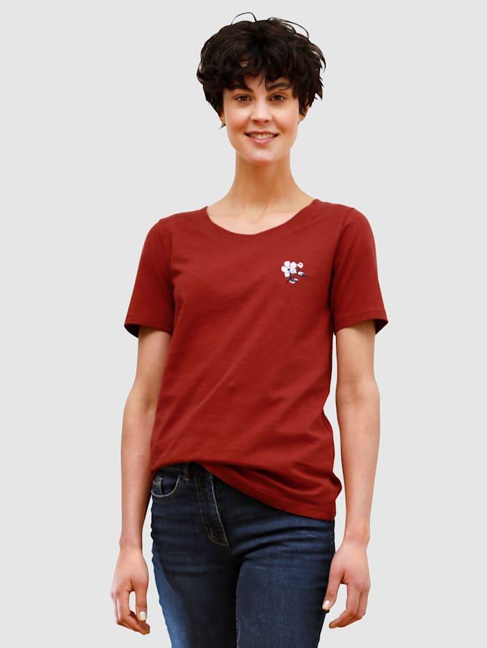 Dress In Shirt mit Stickerei, Terracotta