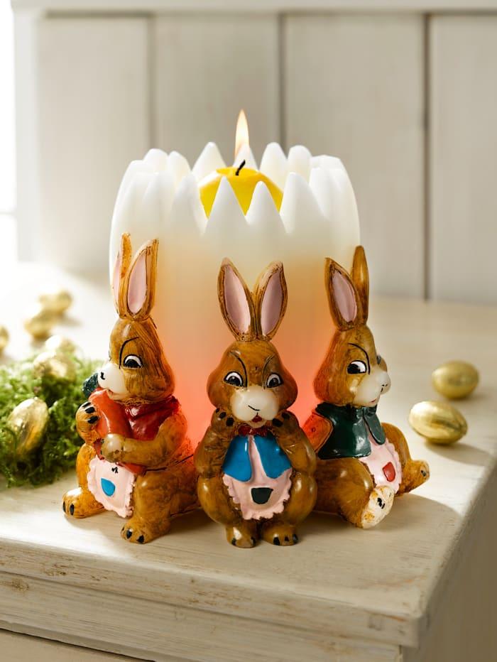 Œuf et couronne de lapins, multicolore