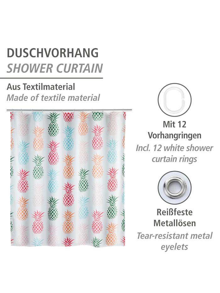 Duschvorhang Ananas, Textil (Polyester), 180 x 200 cm, waschbar