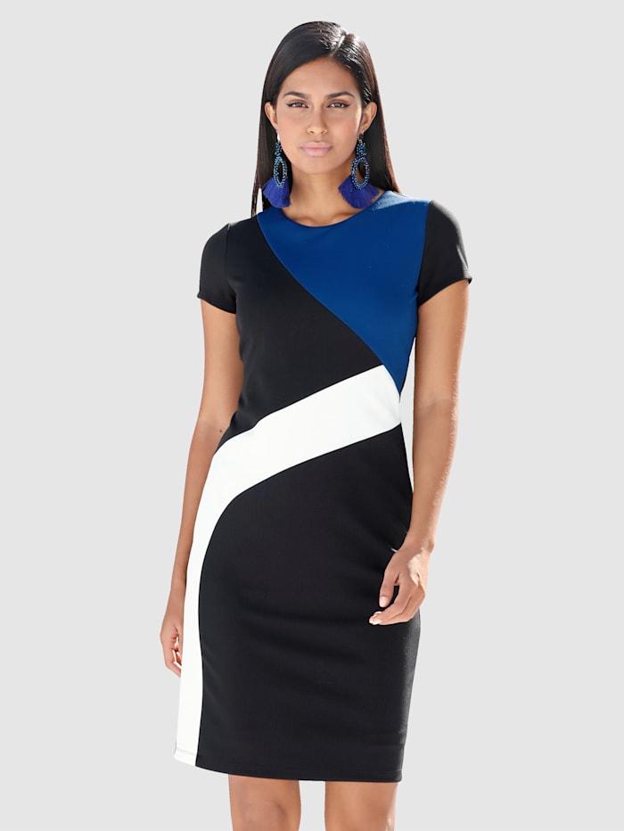 AMY VERMONT Kleid mit grafischem Patch-Muster, Blau/Schwarz/Weiß