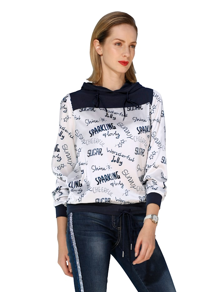 Bluse aus bedruckter Web- und unifarbener Jerseyware