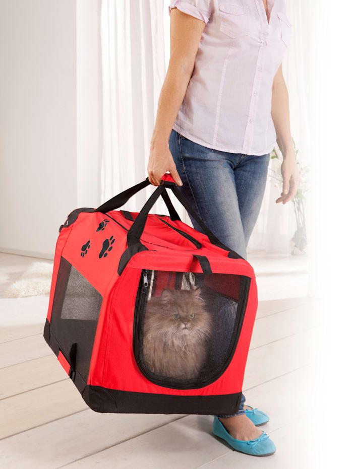 TRI 2-in-1 draagtas voor dieren, rood/zwart