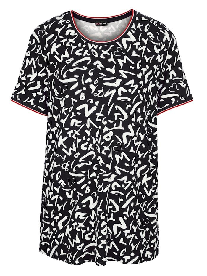 Shirt met modieuze pipings aan de hals en mouwzoom