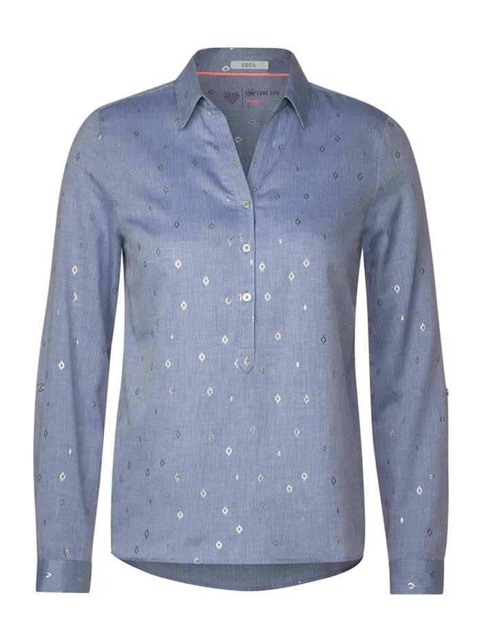 Cecil Hemdbluse mit Ikat-Print, blouse blue melange