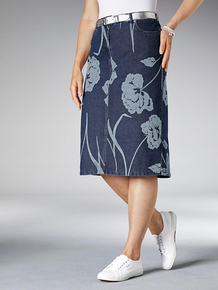 MIAMODA Jupe en jean à imprimé floral, Blue stone