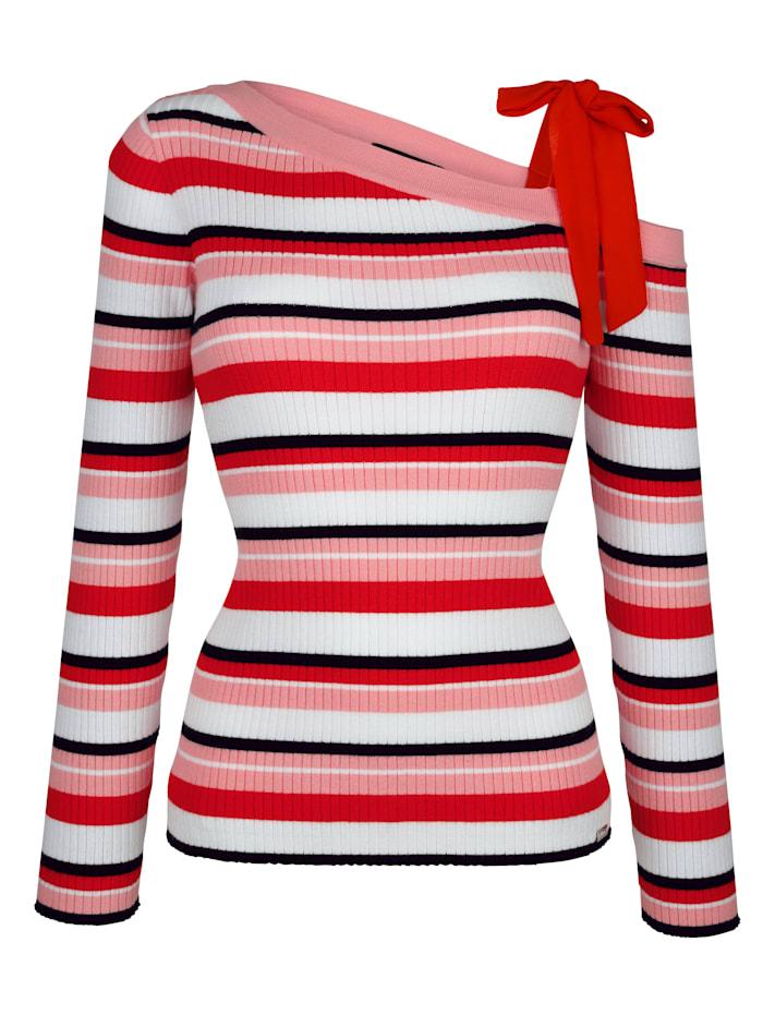 Pullover asymetrischer Ausschnitt und Bindeband an einer Schulter