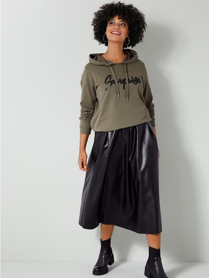 Sweatshirt mit Lederimitat-Schriftzug