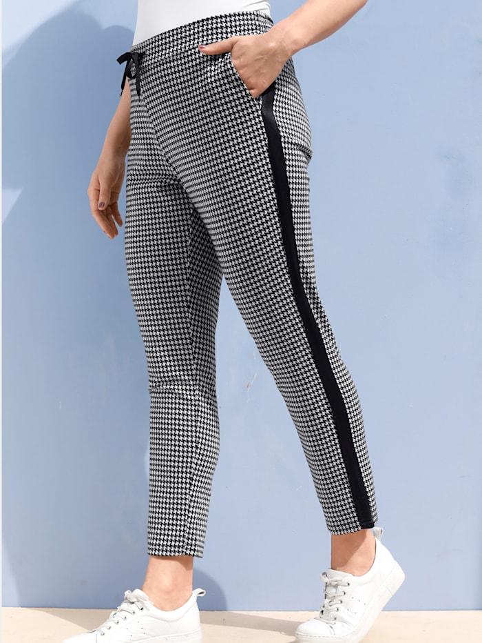 MIAMODA Pantalon à motif pied-de-poule mode, Noir/Blanc