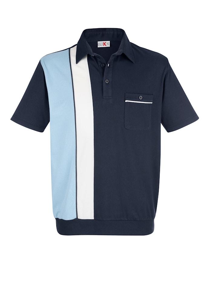 Roger Kent Blousonshirt mit praktischer Brusttasche, Marineblau/Hellblau