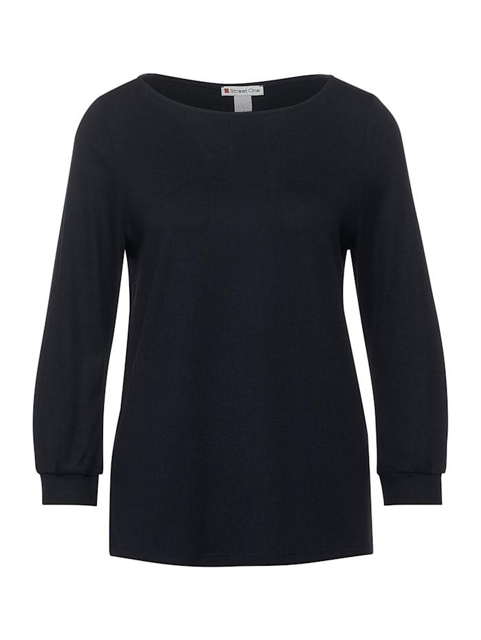 Street One Shirt mit U-Boot Ausschnitt, dark blue