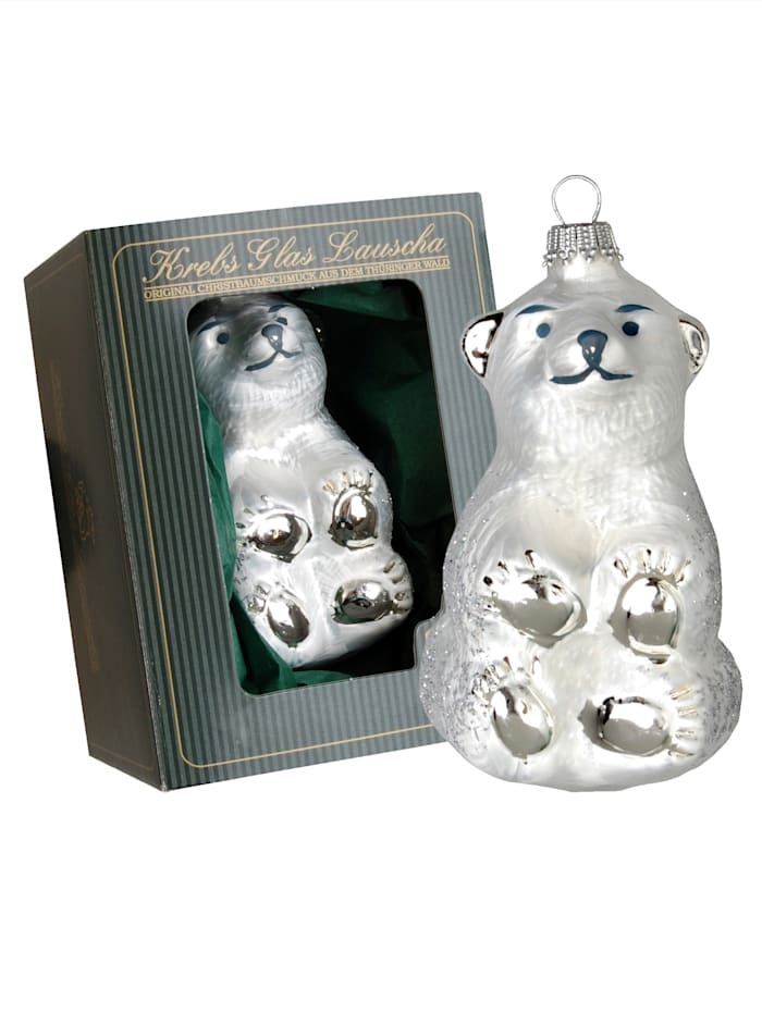 Krebs Glas Lauscha Weihnachtshänger 'Der kleine Eisbär', Weiß