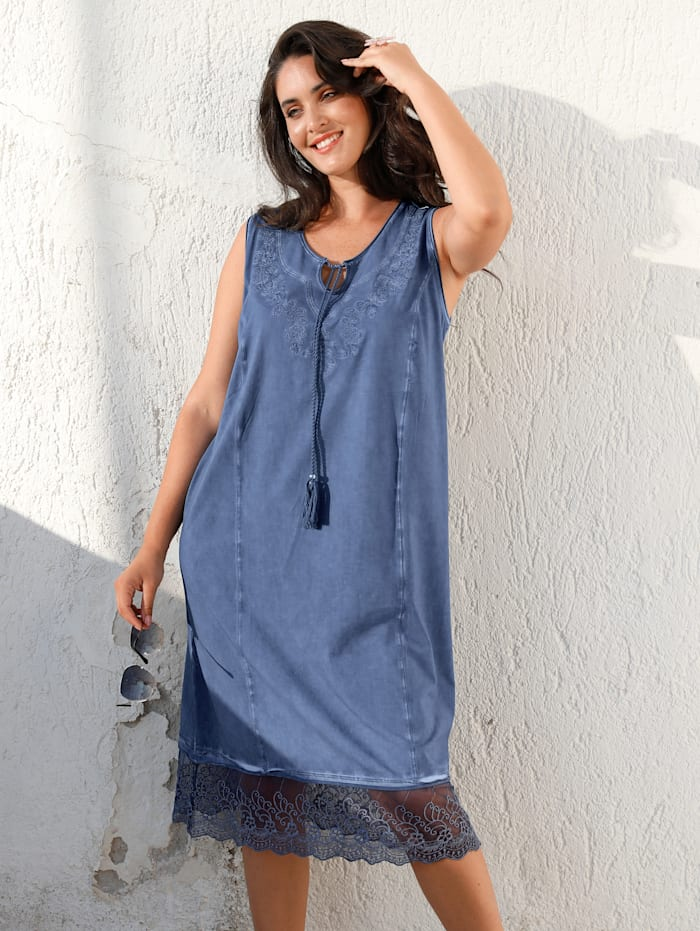 MIAMODA Robe à effet oil washed, Bleu jean