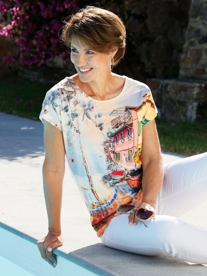 Paola T-shirt à motif imprimé multicolore, Multicolore