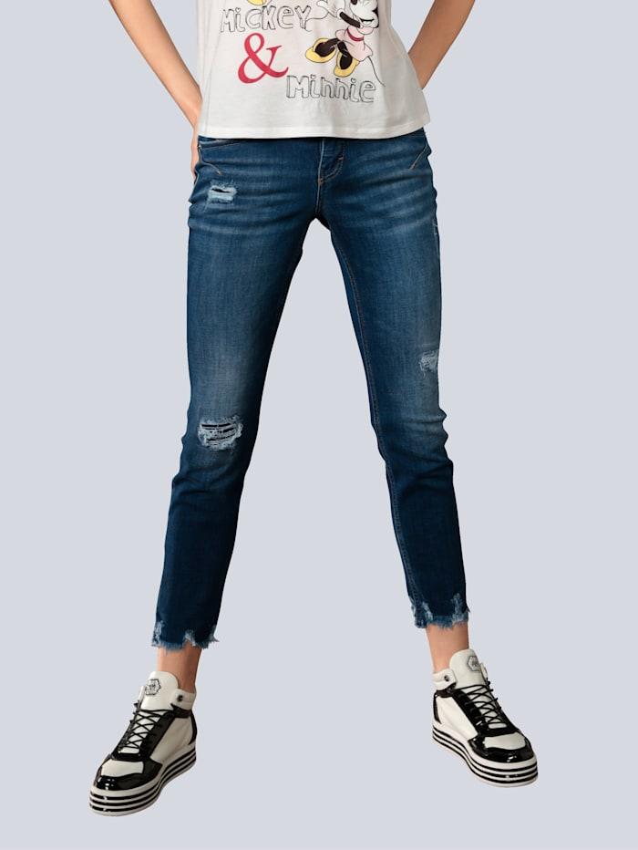 MAC Jeans mit offener Saumkante, Blue stone