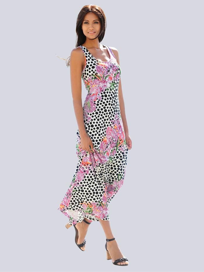 Alba Moda Kleid im Punkte-Blumendessin, bunt