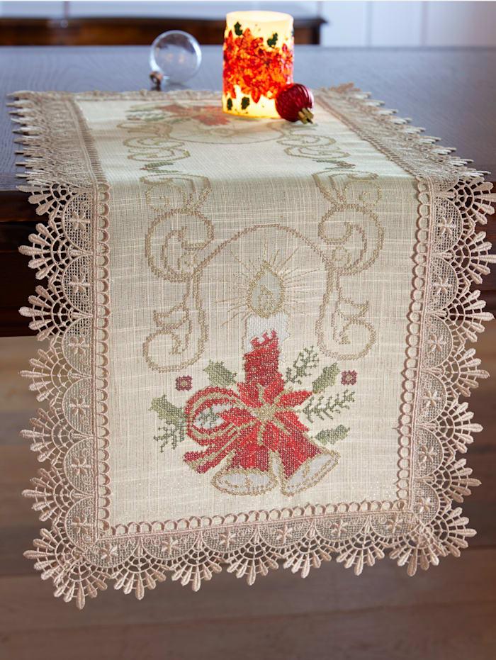 Webschatz Textilserie med julmotiv och spets, naturvit/röd