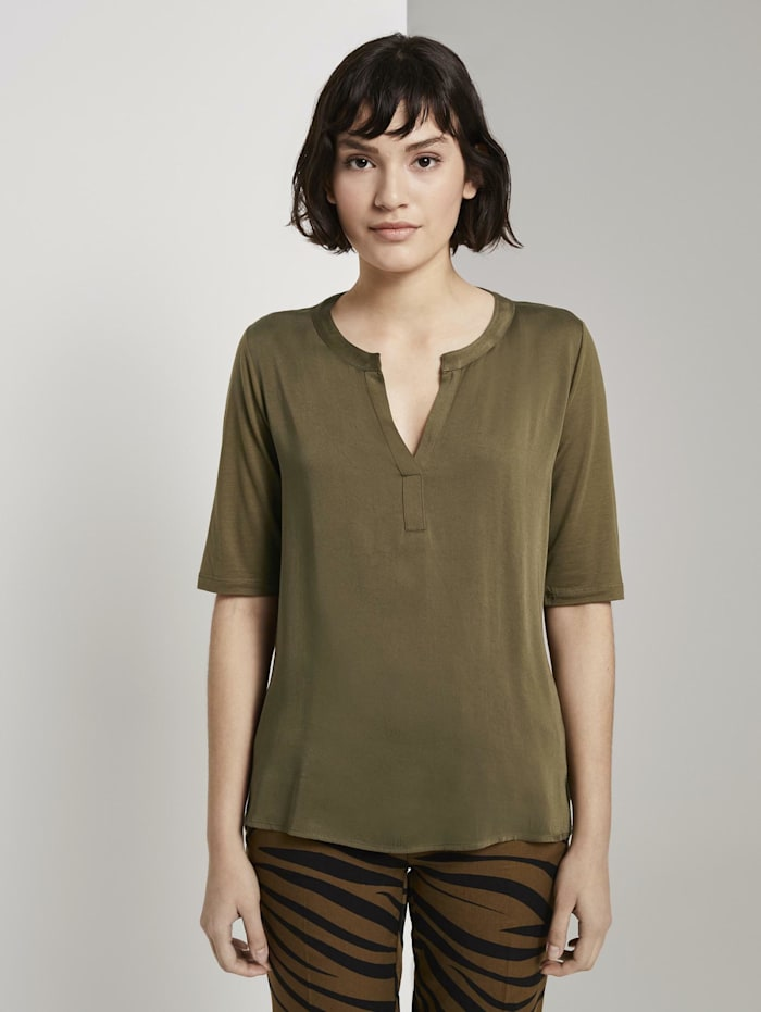 Tom Tailor mine to five T-Shirt aus Lyocell, Military Olive Green