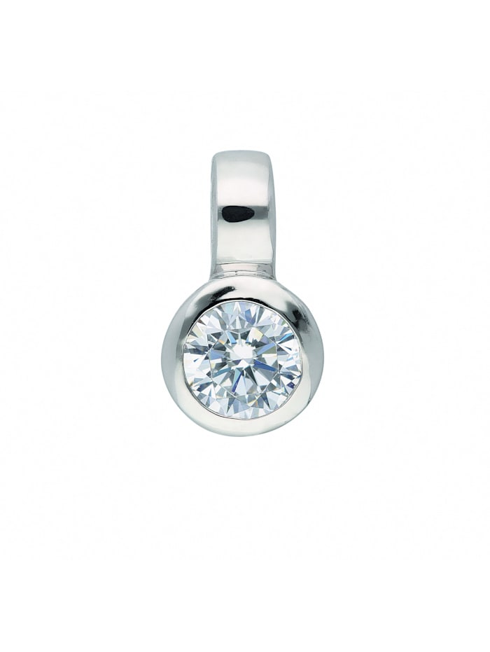 1001 Diamonds Damen Goldschmuck 333 Weißgold Anhänger mit Zirkonia, silber