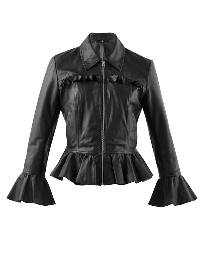 Alba Moda Leren jasje met volants, Zwart