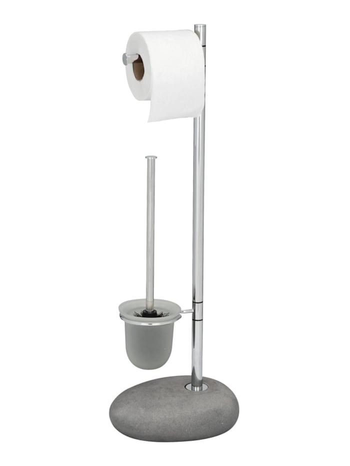 Wenko Stand WC-Garnitur Pebble Stone Grey, Gestell: Chrom, Bodenplatte: Grau, Bürsteneinsatz: Satiniert