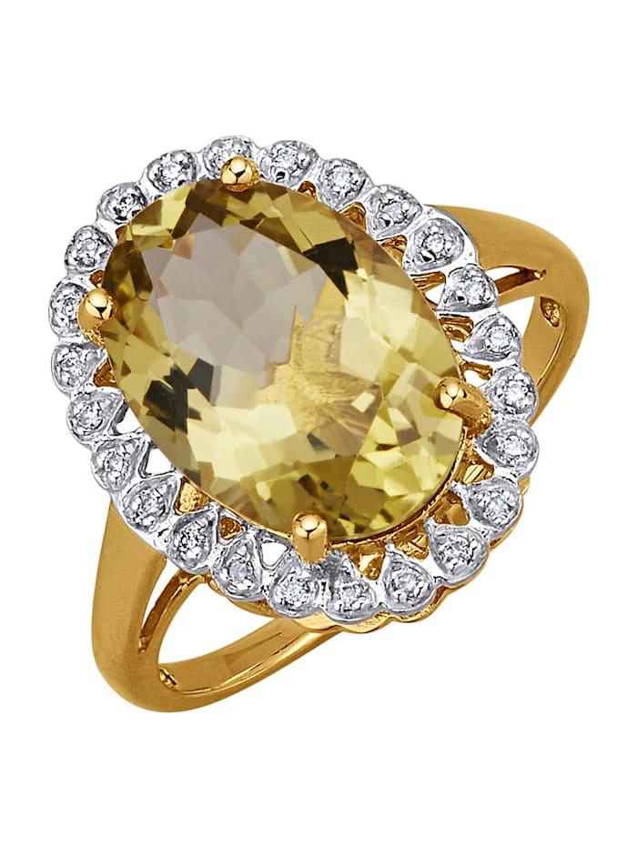 Diemer Farbstein Ring med citronkvarts, Gul