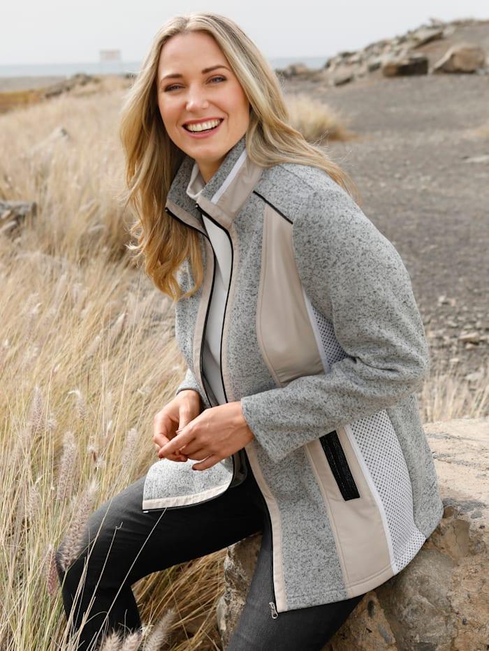 MIAMODA Fleece vest van een materialenmix, Grijs/Beige/Wit