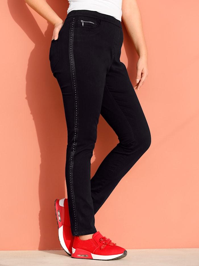 MIAMODA Jeans mit Nietenband seitlich, Schwarz