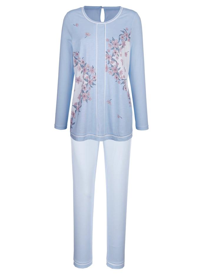 Simone Pyjama met bloemendessin, Blauw/Ecru/Groen