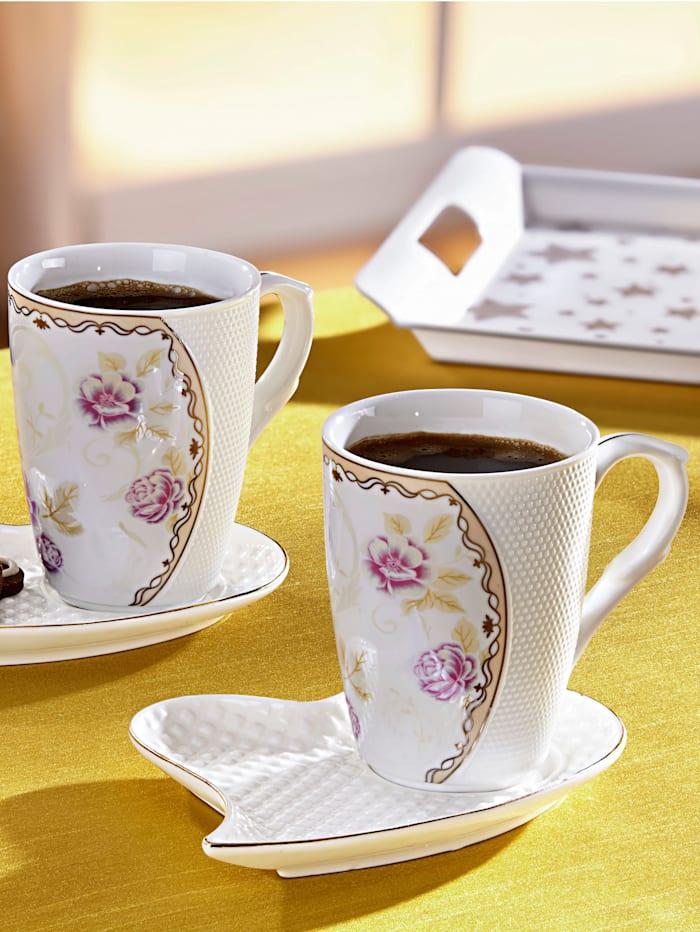 4tlg. Kaffee-Set, weiß