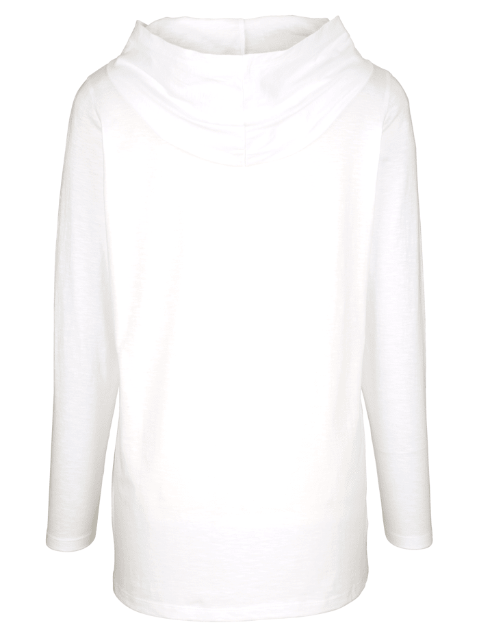 Dlouhé tričko s dekorativní mesh kapucí