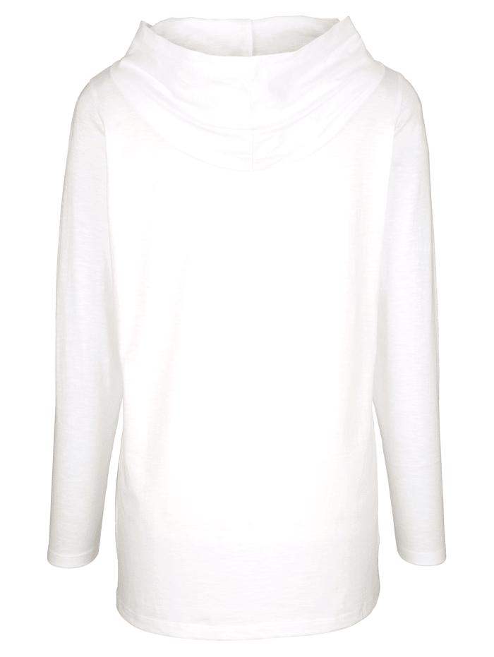 T-shirt long à capuche en résille tendance