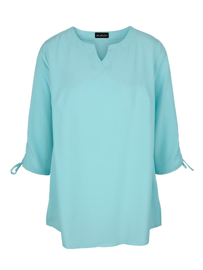 m. collection Blouse gebloemd of effen, Turquoise