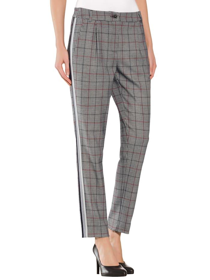 Alba Moda Pantalon à galon sur les côtés, Noir/Blanc cassé/Rouge