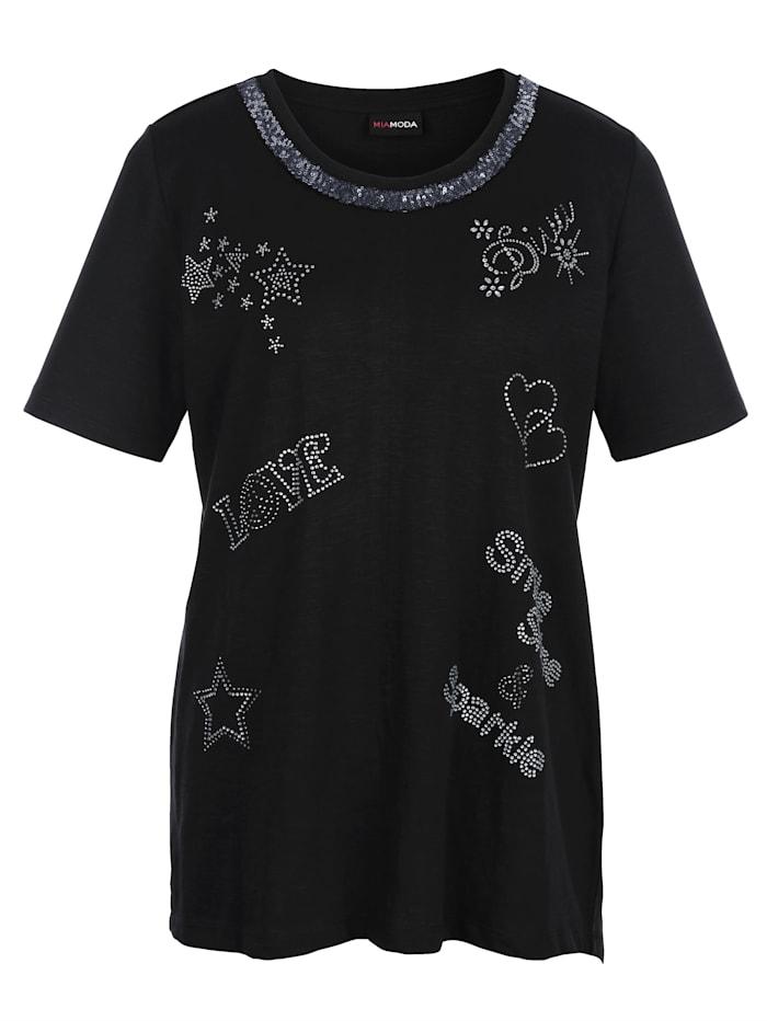 MIAMODA Shirt im Vorderteil mit funklenden Schmucksteinen besetzt, Schwarz