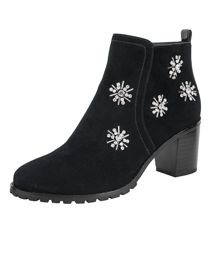 Ankle boots with eye-catching gemstones