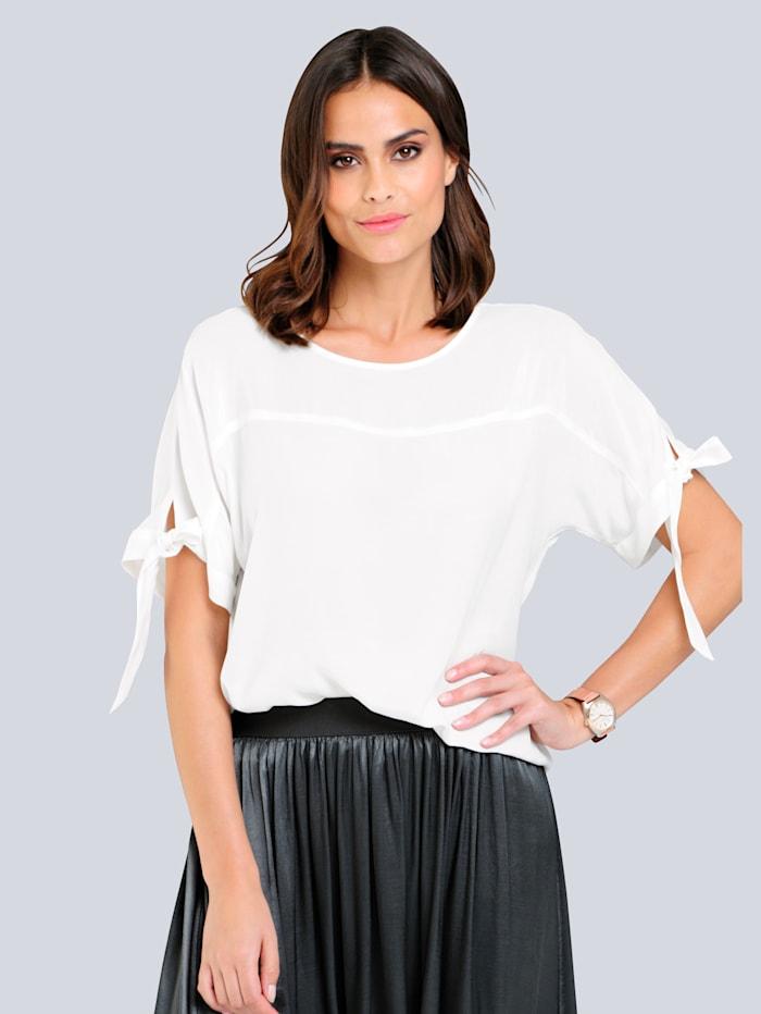Alba Moda Blusenshirt mit Bändchen, Off-white
