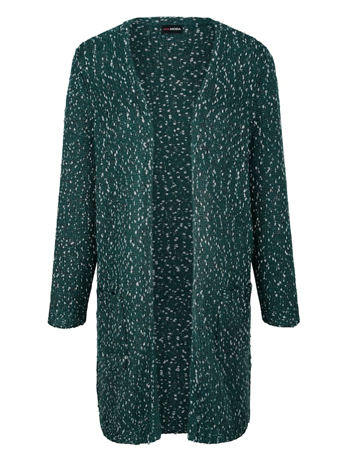 Longstrickjacke mit dekorativem Glitzergarn