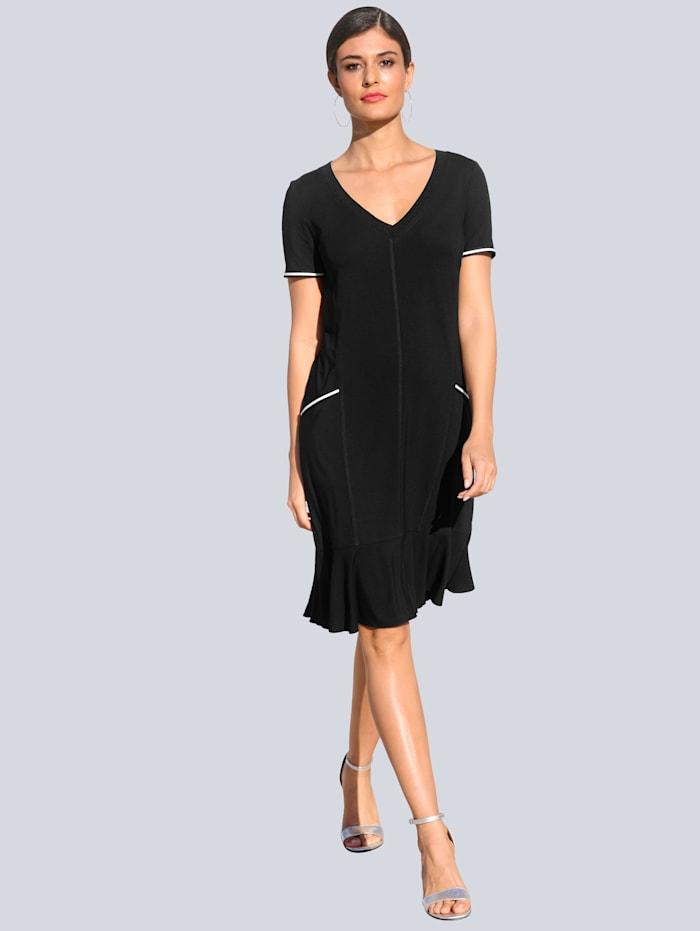 Alba Moda Jerseykleid mit kontrastfarbigen Paspelierungen, Schwarz