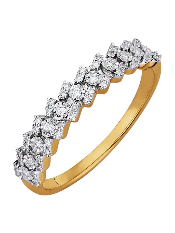 Diemer Highlights Damenring mit Diamanten und Brillanten, Weiß