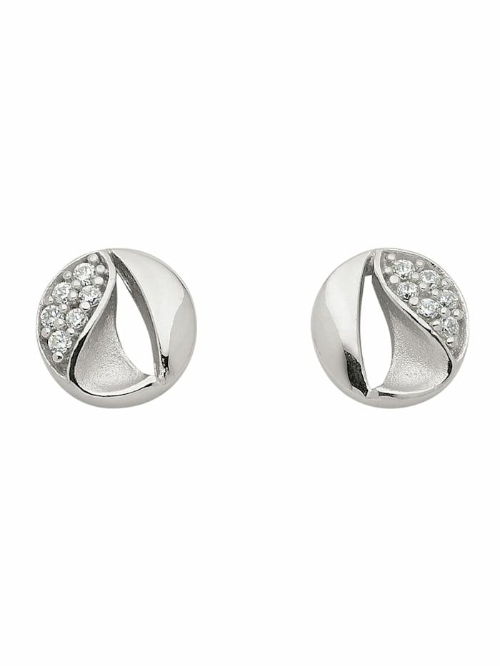 1001 Diamonds 1001 Diamonds Damen Goldschmuck 333 Weißgold Ohrringe / Ohrstecker mit Zirkonia, silber