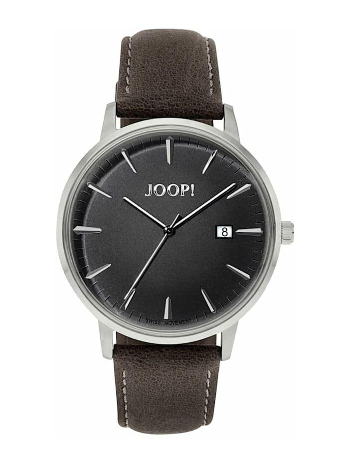 JOOP! Quarzuhr für Herren, Edelstahl mit Lederband, braun, Chronograph, Braun